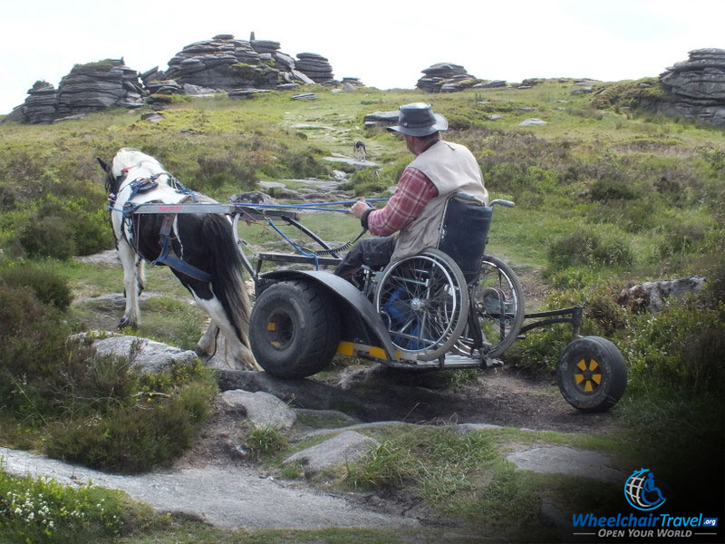 Pony And Wheelchair Carriage Climbing A Rocky Hill In South Downs Way National Park
