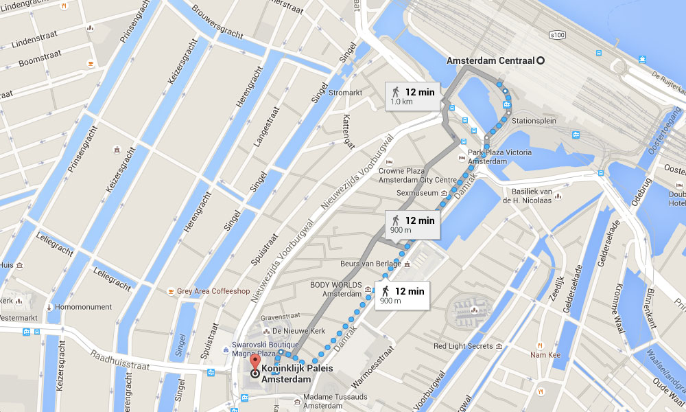 PHOTO DESCRIPTION: Map of the area around the Palace of Amsterdam, with a route to Central Station highlighted.