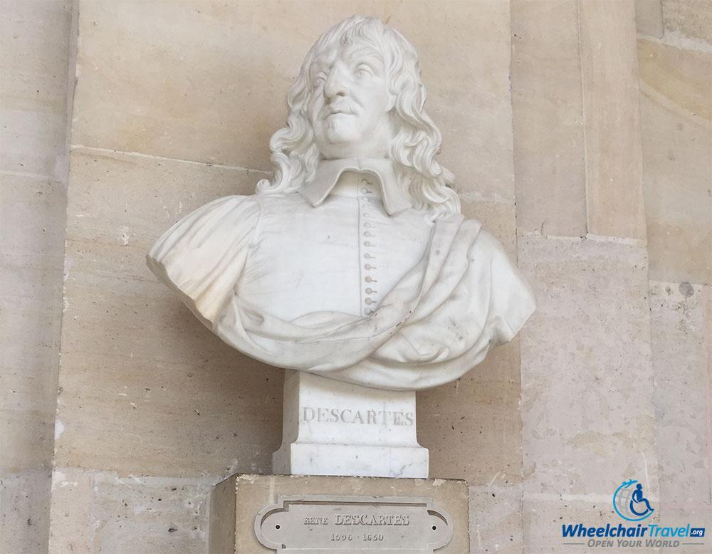 PHOTO DESCRIPTION: Sculpted bust of Rene Descartes.