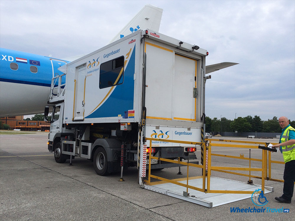 wheelchair lift for truck folding chair storage rack photo description ambulift parked next to klm boeing 737 at berlin tegel airport txl