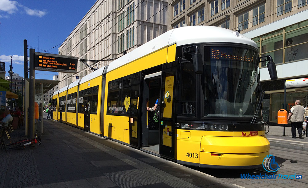 PHOTO DESCRIPTION: Berlin Tram parked outside of Alexanderplatz Station.