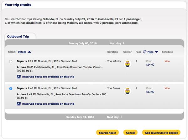 PHOTO DESCRIPTION: Trip search results - Megabus Florida - Orlando