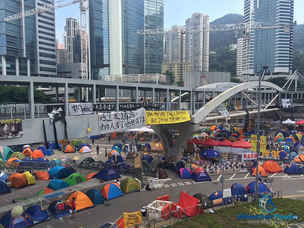 PHOTO DESCRIPTION: Umbrella Movement in Hong Kong, China.