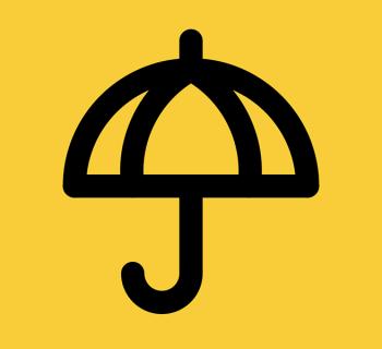 PHOTO DESCRIPTION: Umbrella Movement icon, black umbrella outline on yellow background.