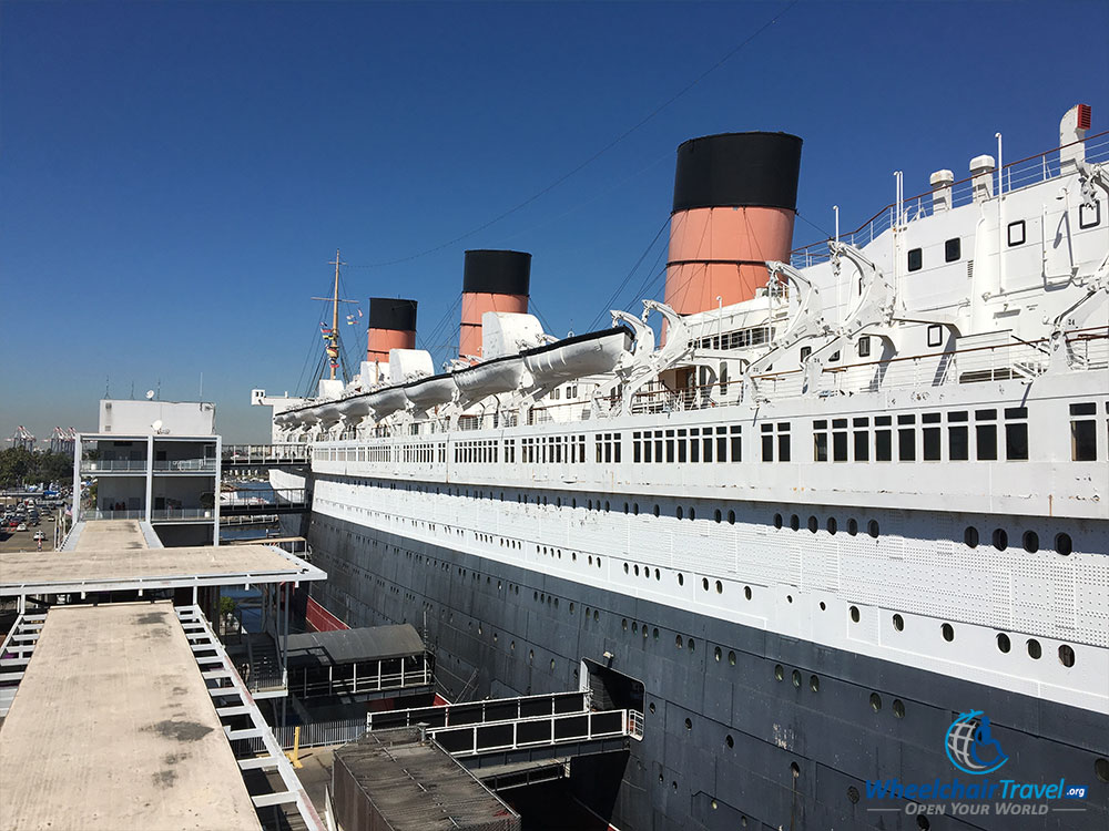 PHOTO: Lengthwise photograph of the exterior of the RMS Queen Mary.