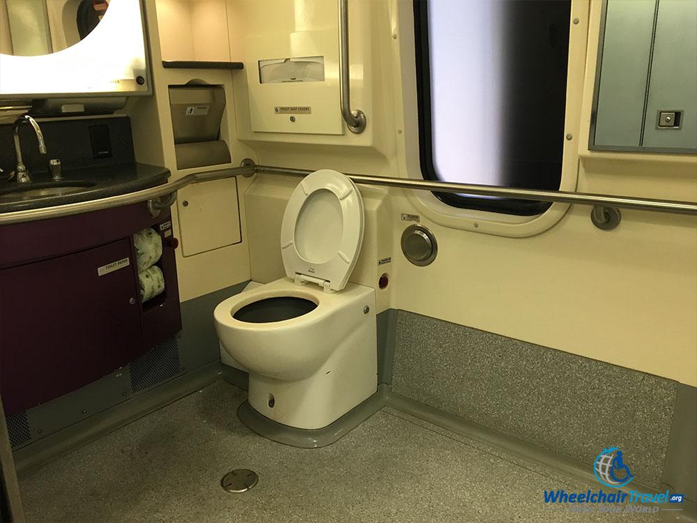 PHOTO: Wheelchair accessible bathroom on Acela train.