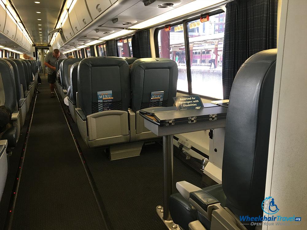PHOTO: Wheelchair seating area on Amtrak Acela train.