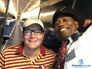 PHOTO: Selfie with Amtrak train conductor.