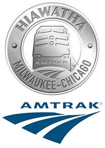 PHOTO: Amtrak Hiawatha Service and Amtrak logos.