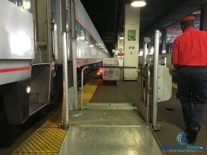 PHOTO: Wheelchair lift used for boarding Amtrak trains at Chicago Union Station.