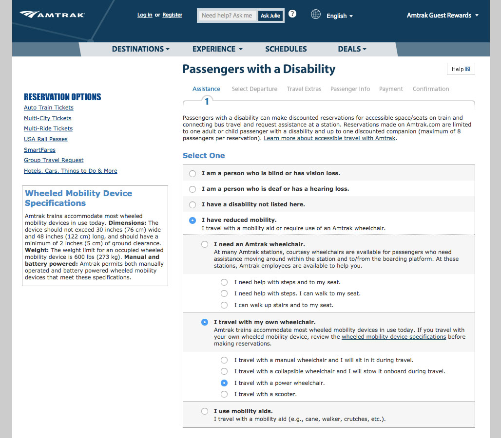 Disability Requirements & Special Assistance form on Amtrak.com.
