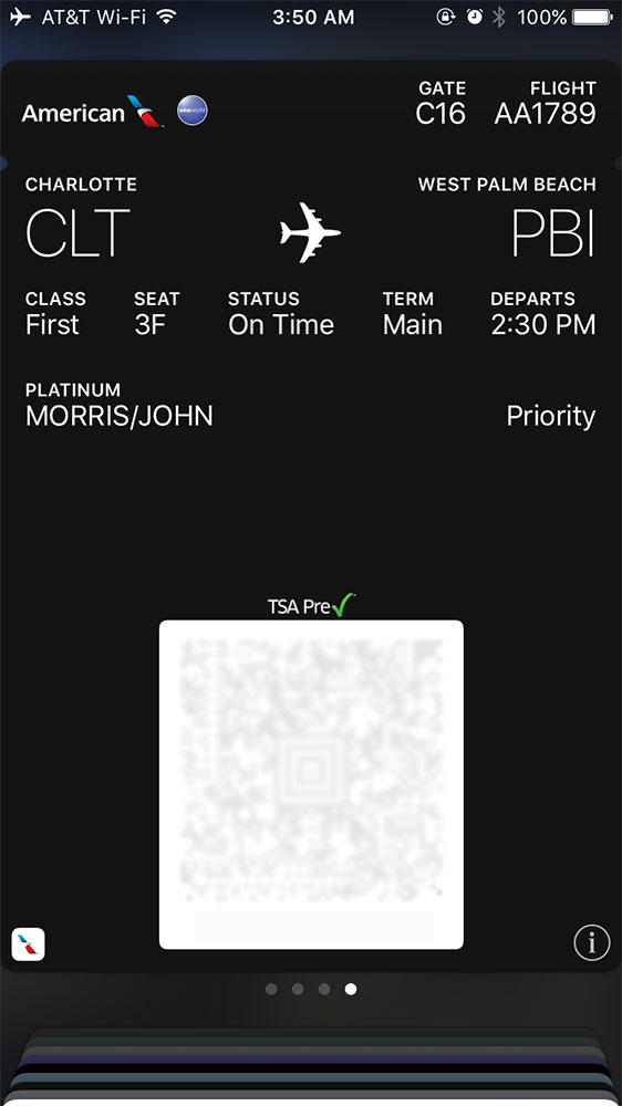 American Airlines mobile boarding pass.