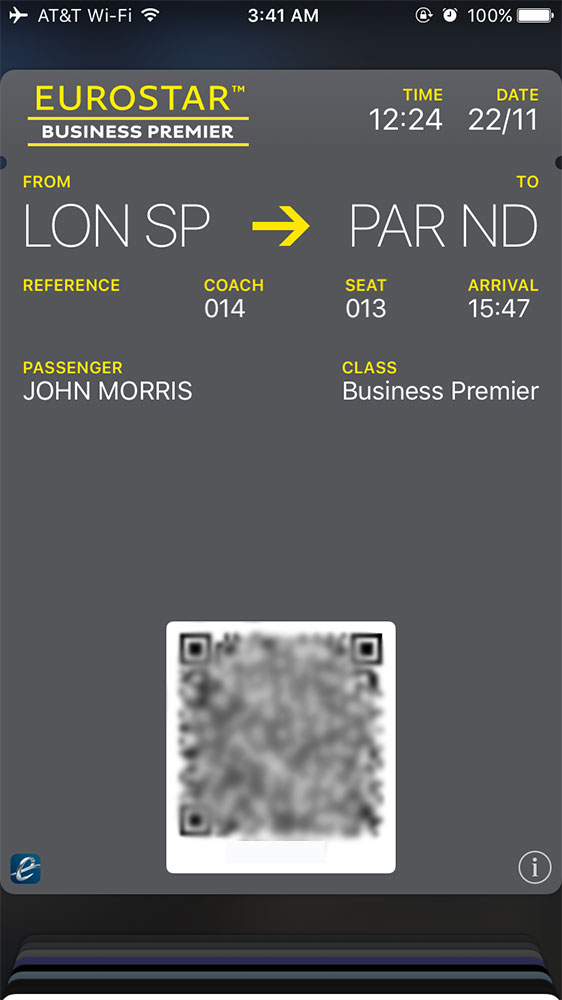 Eurostar mobile boarding pass.