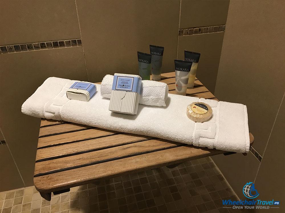 Shower bench, shower seat at Omni Dallas Hotel.