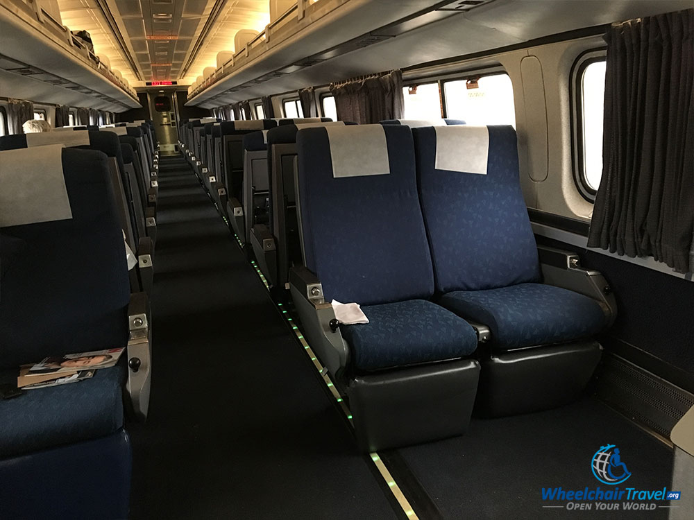 Amtrak Silver Star coach class wheelchair space and seat