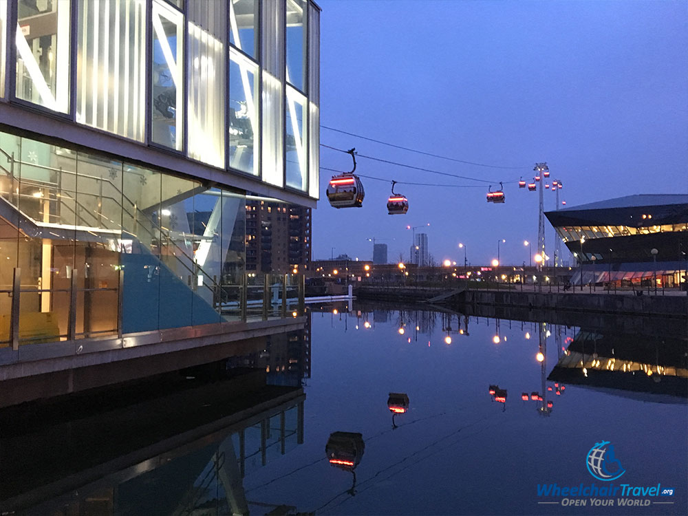 View of the London cable car outside Royal Docklands station