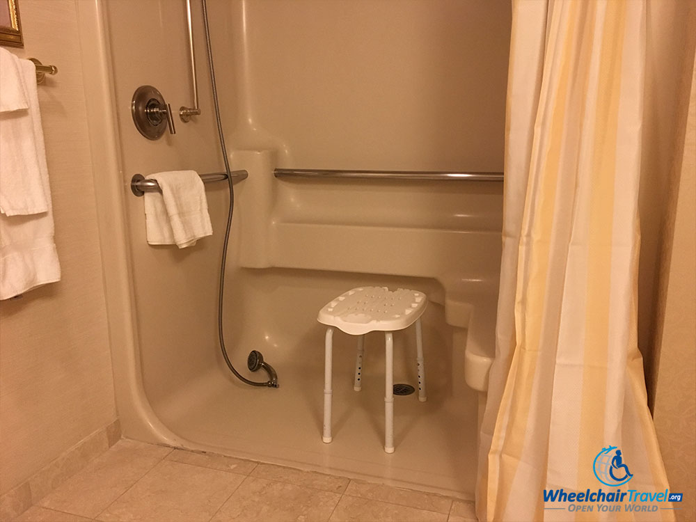 Wheelchair accessible roll-in shower at Monte Carlo Las Vegas hotel