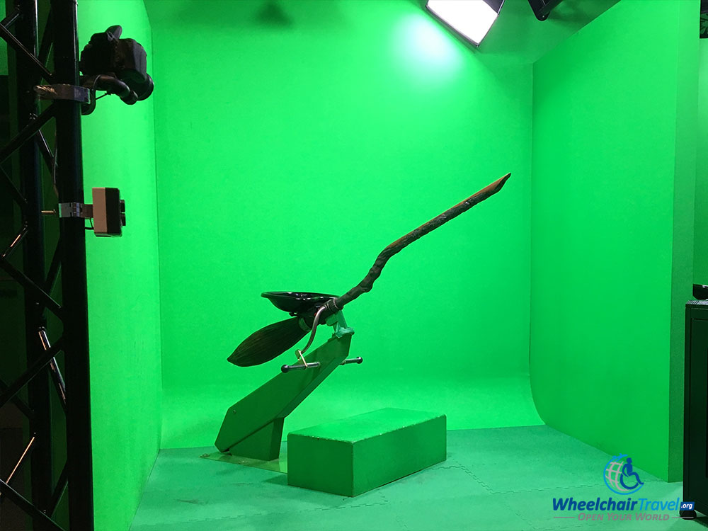 Harry Potter flying broomstick against green screen