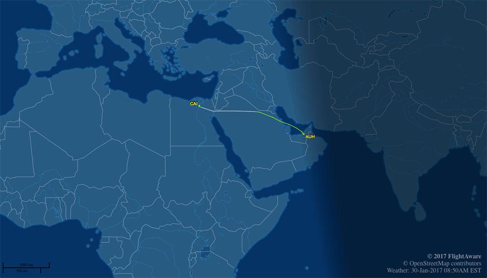 Flight track of EgyptAir MS915, Abu Dhabi to Cairo