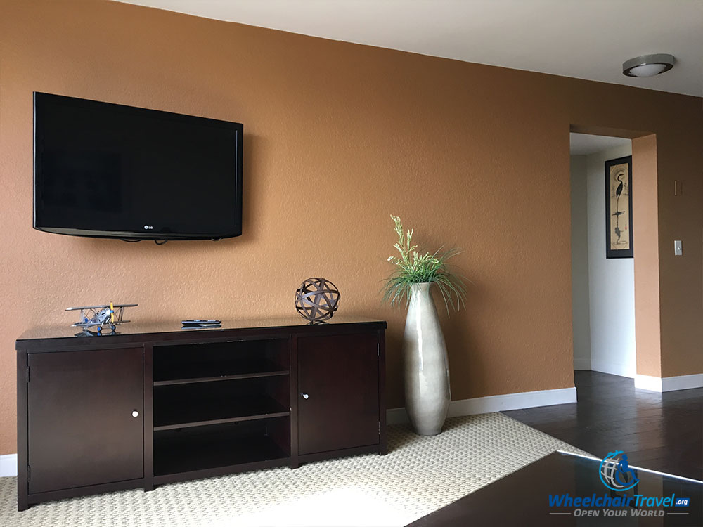 Flat screen television, affixed to living room wall