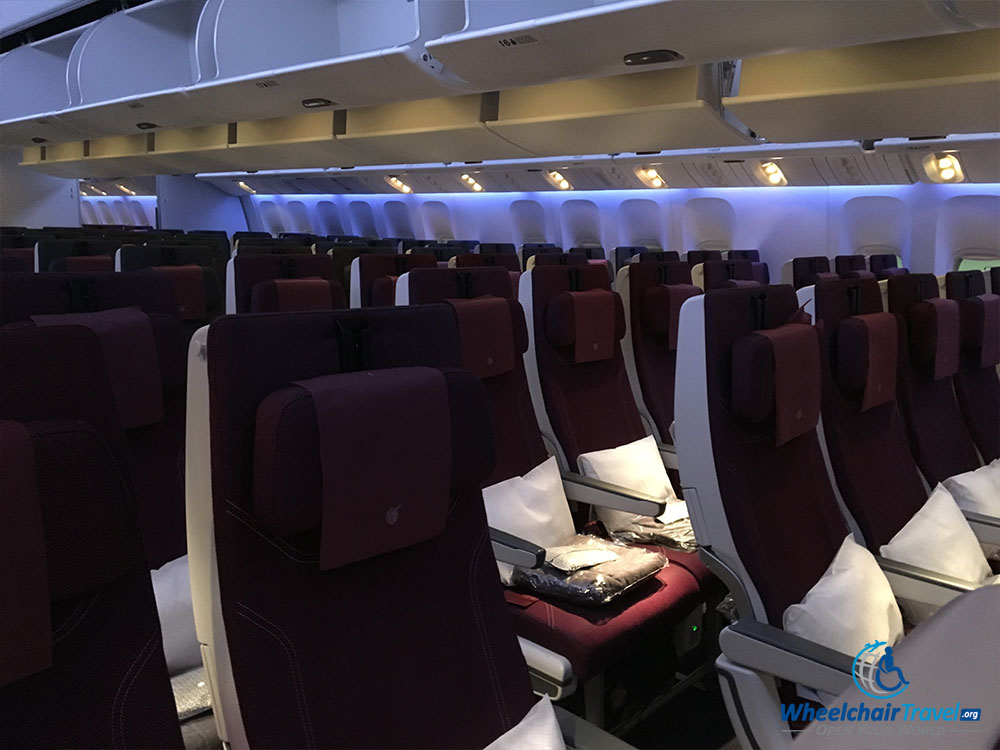 Economy class cabin on a Qatar Airways Boeing 777-300ER aircraft