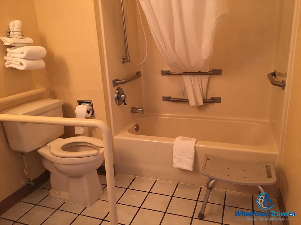 Quality Inn Selma wheelchair accessible bathroom