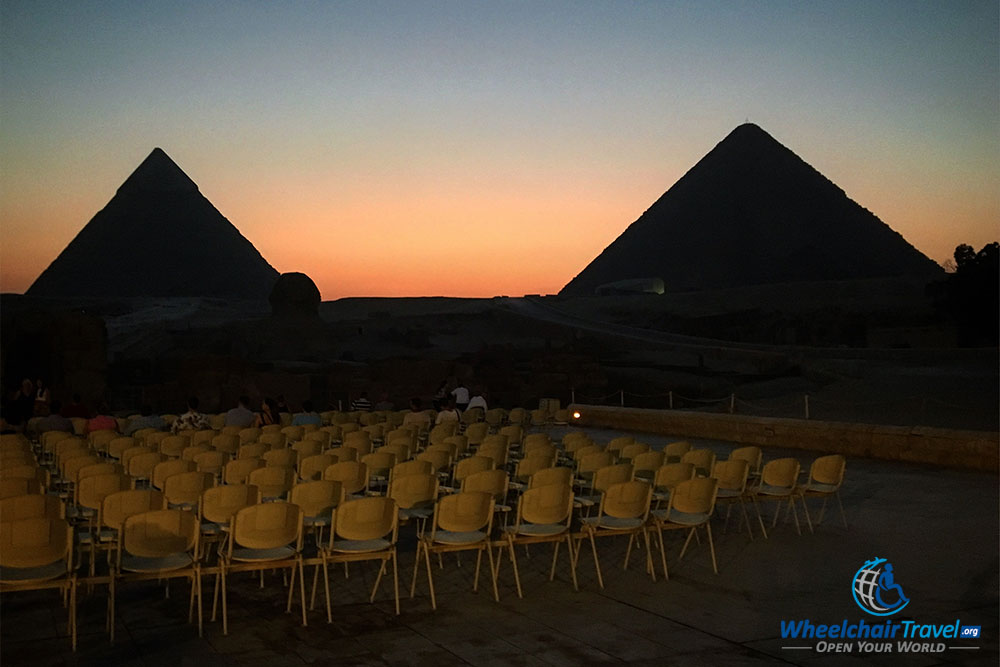 Seating area at the Pyramids Sound & Light Show