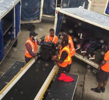 Wheelchair on airplane belt loader