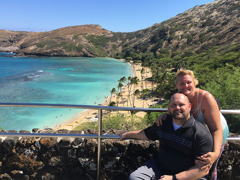 Dawn & Josh Albert on a wheelchair accessible vacation in Hawaii.