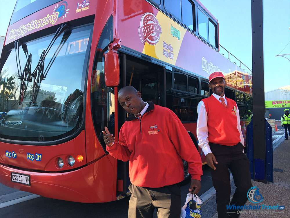 Friendly City-Sightseeing staff in Cape Town.