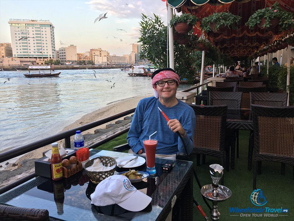 Enjoying lunch and shisha at the Blue Barjeel Cafe in Dubai.