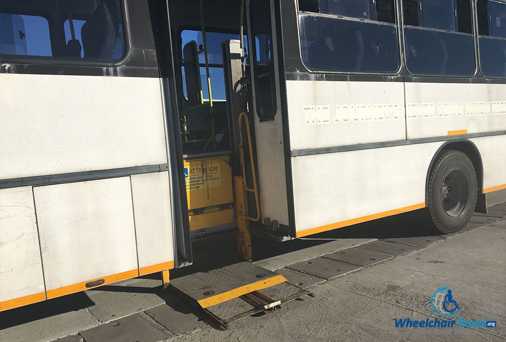 Platform for wheelchair lift on Robben Island tourist bus