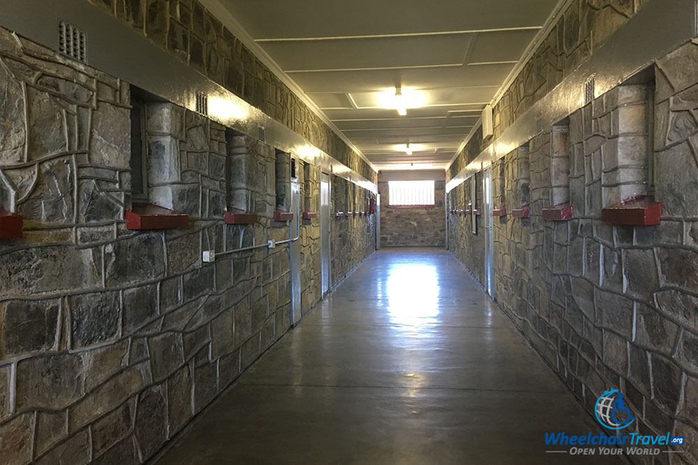 Dormitory corridor, just outside of an inaccessible exhibit on Robben Island.