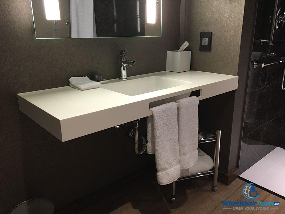 ADA-compliant bathroom sink.
