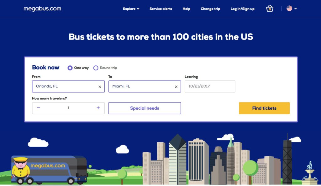 Megabus Homepage and ticket reservation form.