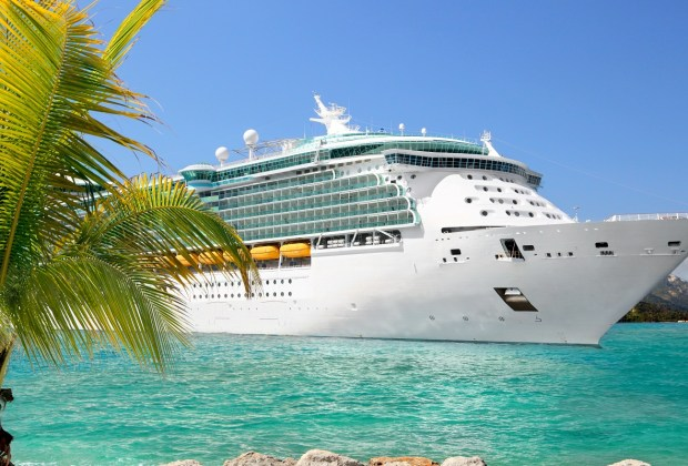 Cruise ship in a beach destination.