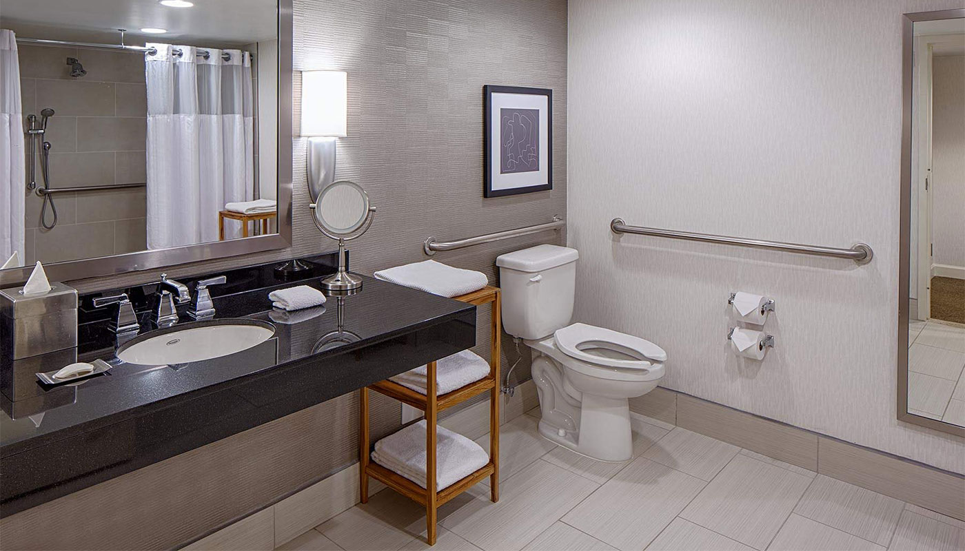 Wheelchair accessible hotel bathroom,