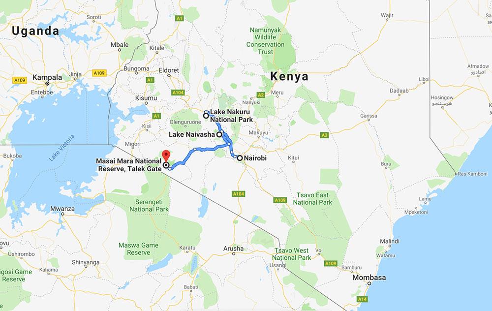 Map of safari route in Kenya.