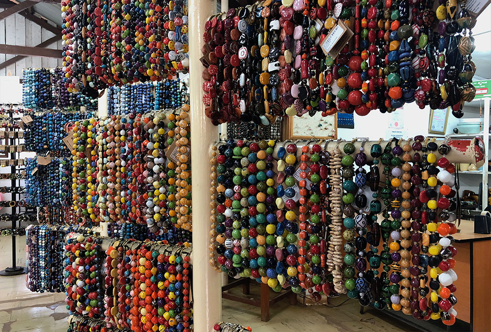Kazuri bead necklaces in gift shop.