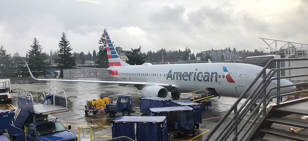 American Airlines Boeing 737 aircraft used on flight AA 228.