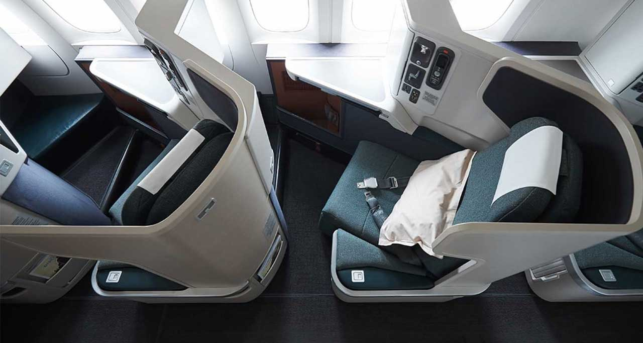 Cathay Pacific business class seat.