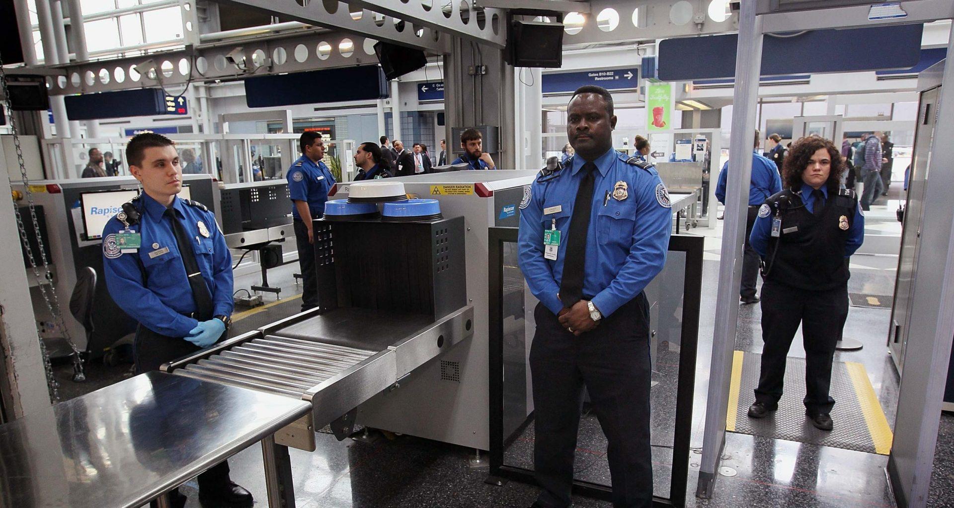 TSA airport security checkpoint.