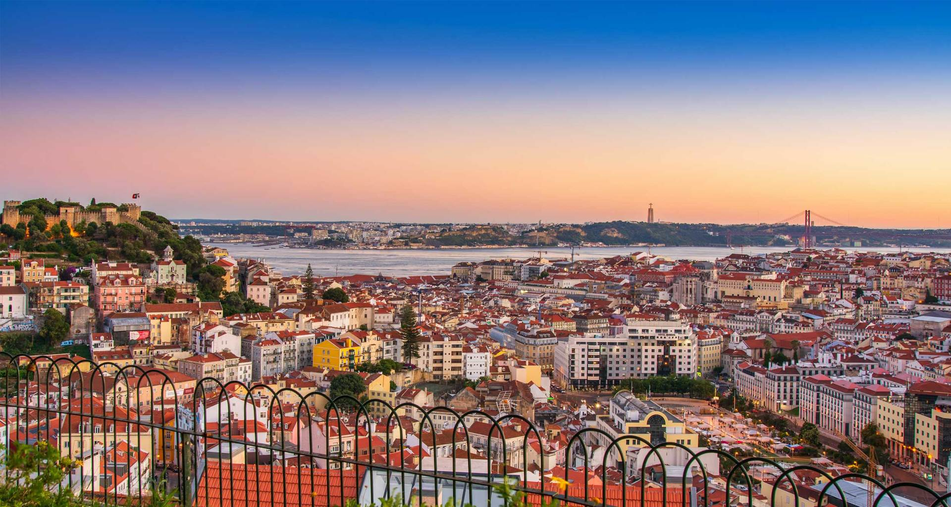 Lisbon, Portugal skyline at dusk.
