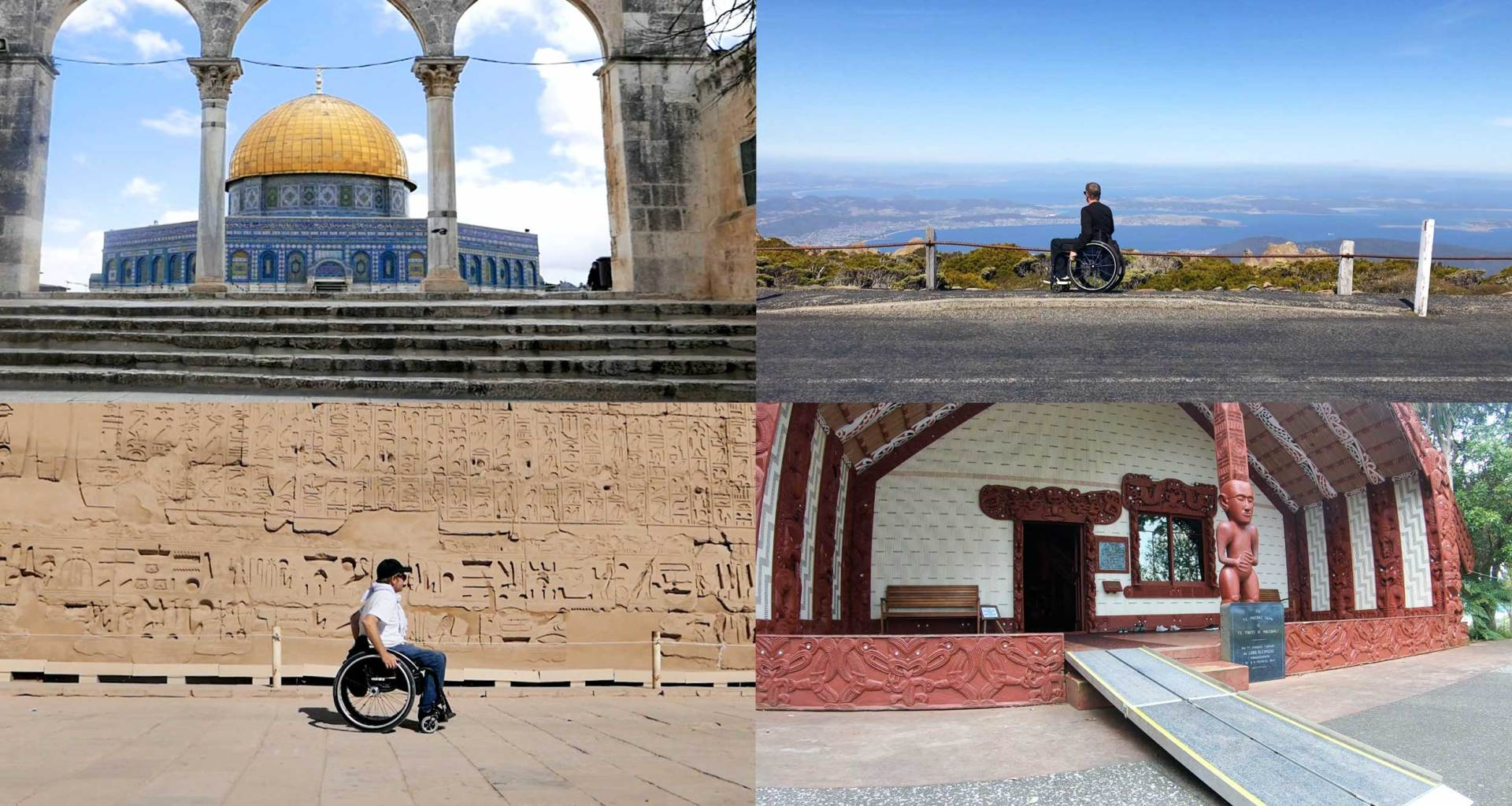 Collage: Wheelchair user in front of tourist attractions and landscapes.