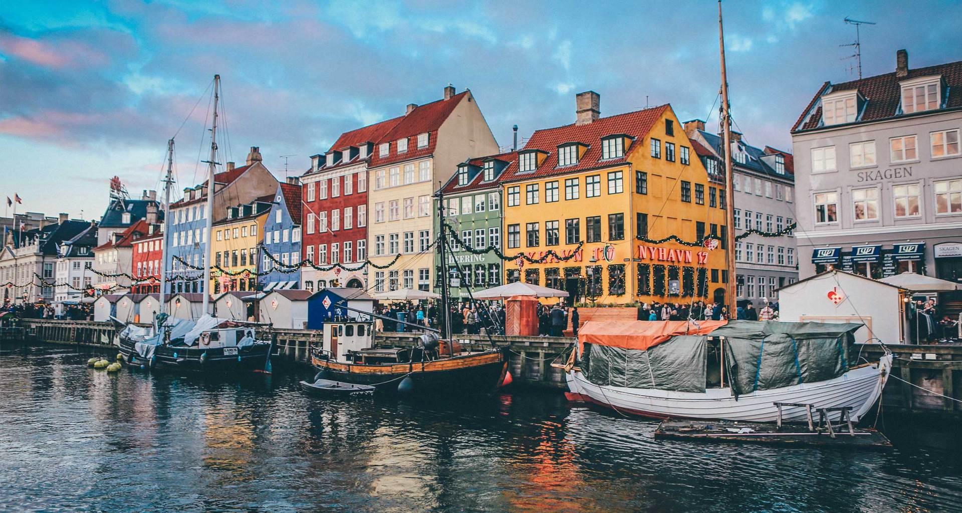 Colorful buildings in front of the water in Copenhagen, Denmark.