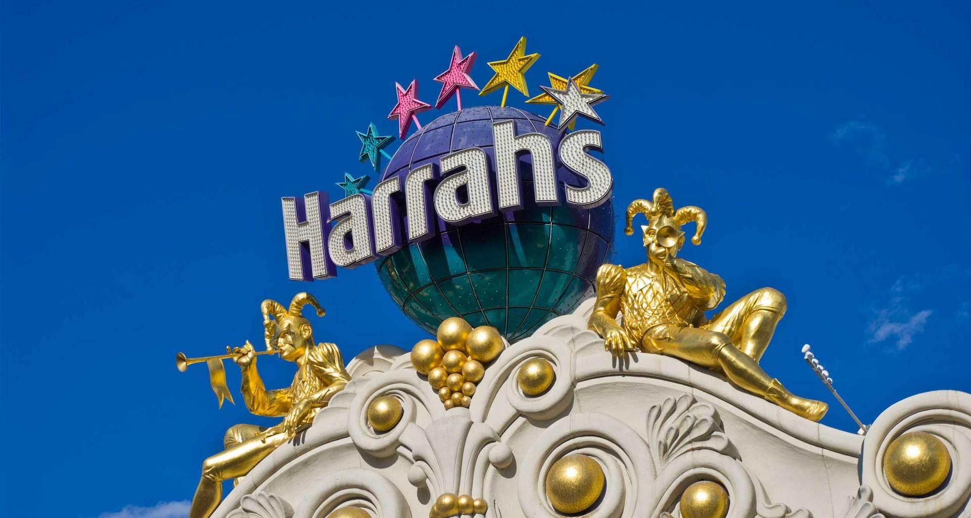 Harrah's sign at top of building.