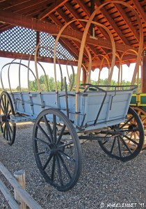 Another of the old wagons on display at Three Island Crossing State Park