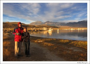 Alex and Ellen bundled up for an early-morning visit at Mono Lake
