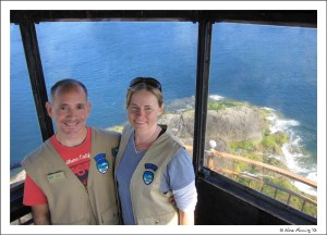 The volunteer couple in the lighthouse tower