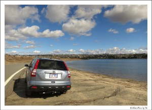 Parked at our fav doggie spot, Fiesta Island